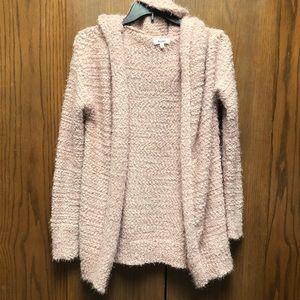 Mudd Pink Knit Cardigan With Hood